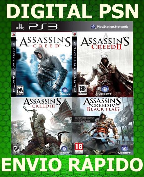 Assassins Creed 1, 2 , 3, 4 Combo Ps3 Psn Receba Agora