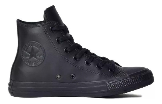 Tenis Converse All Star Original Monochrome Preto Couro