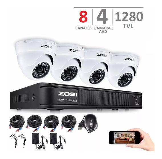 Kit 4 Camaras Seguridad 1280 Tvl Domo 8 Canales Ahd Disco