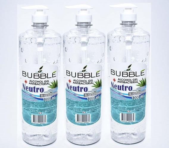 Pack X3 Gel Alcohol Antibacterial Neutro Sin Triclosán 1l.