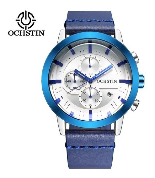 Relógio Masculino Ochstin Azul Pulseira Couro Super Barato