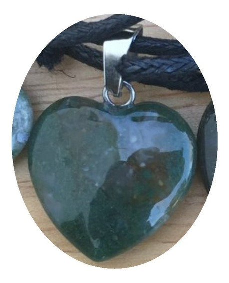 Dije Corazón Ágata India Verde Collar Nudo Corredizo M3f5