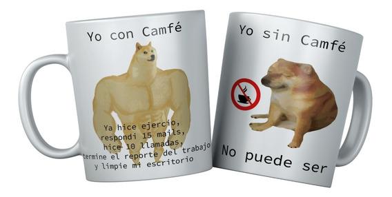 Taza Perro Cheems Y Dogue Camfe Con Cafe Sin Cafe Meme | Mercado Libre