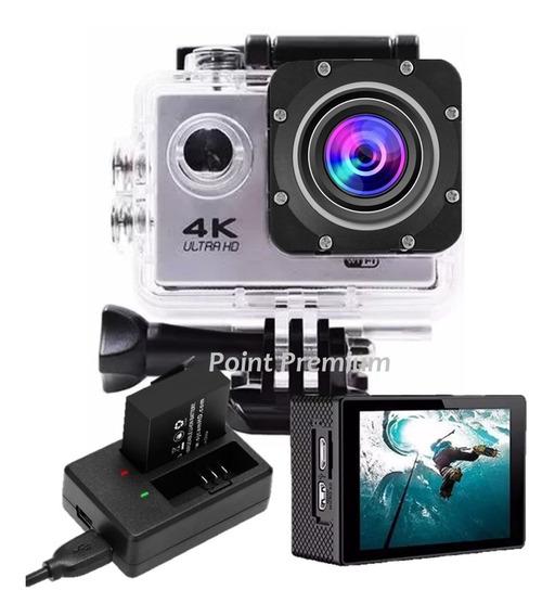 Kit Filmadora Action Câmera 4k Bateria 900mah Carregador Nf