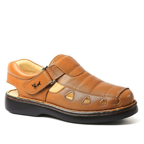 Sandália Masculina 302 Em Couro Floater Whisky Doctor Shoes