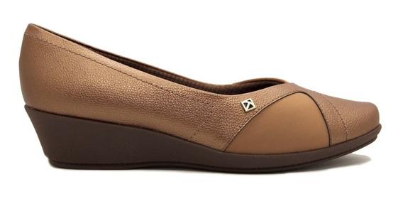 Zapato Taco Chino Mujer Cuero Ecológico , Neoprene Bronce