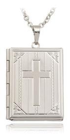 Colar Relicario Biblia Sagrada Em Aço Inox + Banho Ouro 18k