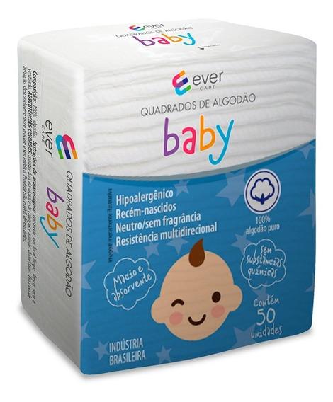 Algodão Quadrado Ever Care Baby 50 Unidades