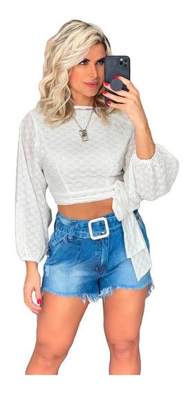 Blusa Camisa Feminina Jeans Manga Longa Bordada