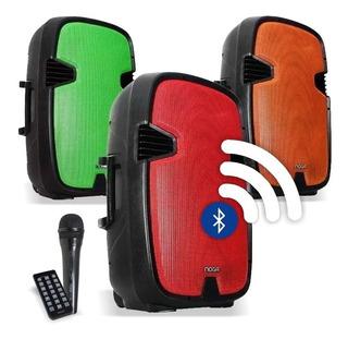 Parlante Bluetooth Portátil 15´´ Karaoke Noga Qx23 45w + Mic