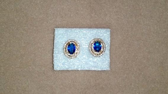 Brinco Feminino Zircônia Pedra Azul, Banhado A Ouro