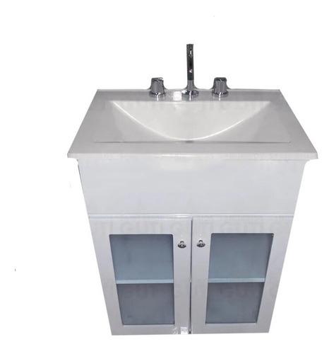 Vanitory 50 Cm Cuadrado Maral Laqueado Vidrio Baño Blanco