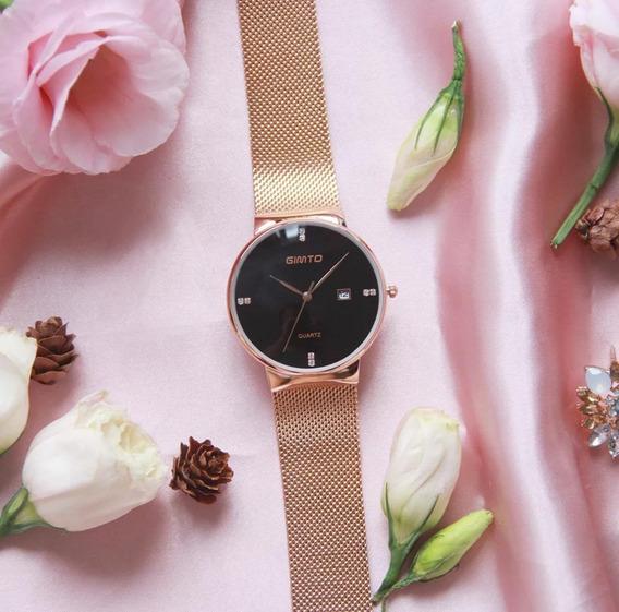 Executivo! Relógio Feminino Gimto Aço Preto Quartzo + Caixa