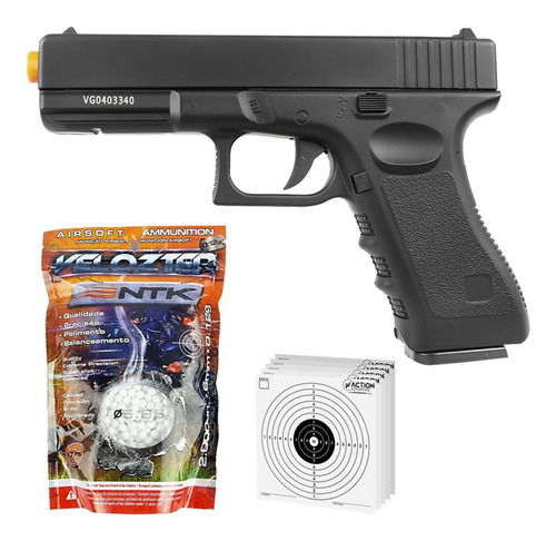 Imagem 1 de 6 de Pistola De Airsoft Full Metal Glock Gk-v20 Spring + 2000 Bbs