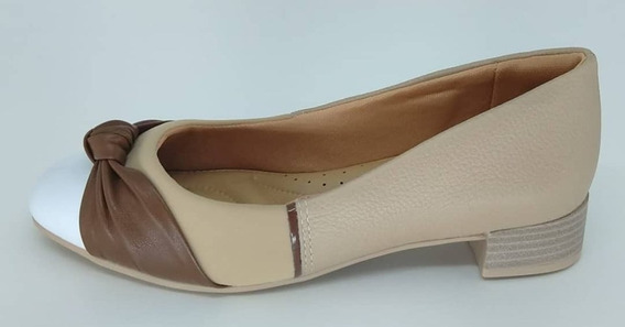 Sapato Comfortflex 1987302 Branco/avelã/nude/café Salto 3cm
