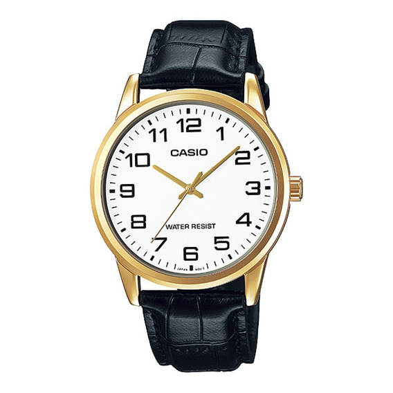 Relógio Masculino Casio Couro Preto Mtp-v001gl-7budf Original Nota Fiscal E Garantia