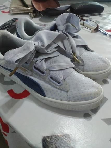 Liquido! Zapatillas Puma Basket Celeste Y Azul Largo 28 Cm