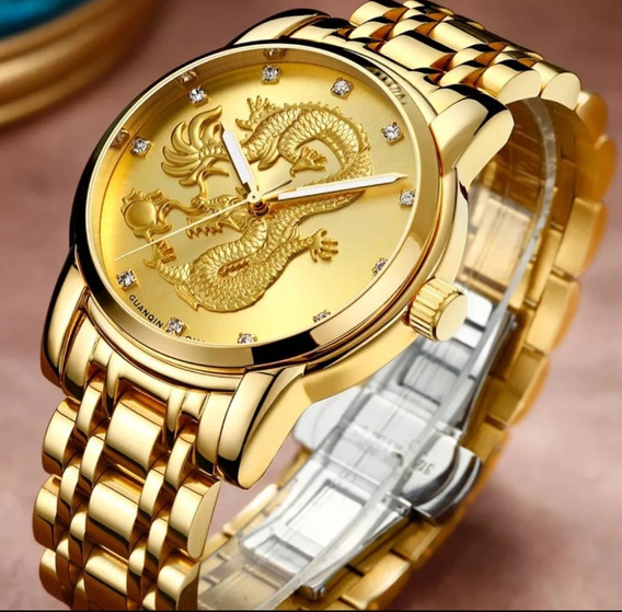 Relógio Masculino Dragão Banhado A Ouro Dourado Homem Sagaz