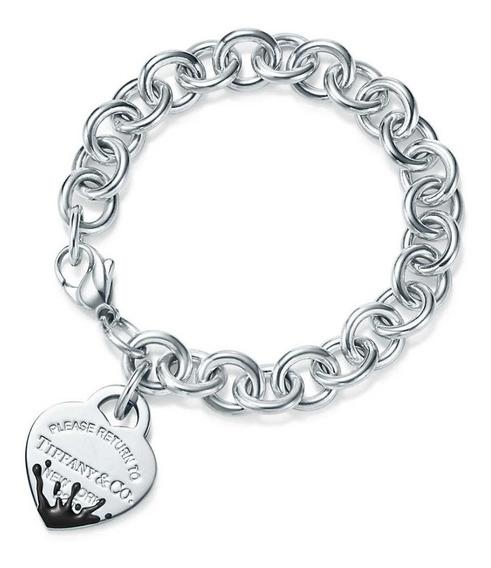 Pulseira Tiff Coração Prata Com Embalagem Bracelete