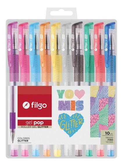 Lapicera Boligrafo Filgo Gel Pop Glitter Con Brillos X 10 Un