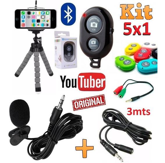 Kit Youtuber Microfone Lapela Celular Mini Tripé Extensão 3m