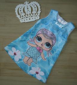 Vestido Temático Infantil Trapézio Lol Surprise Sereia Mod26