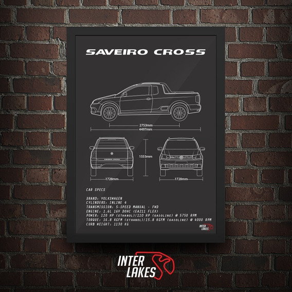 Quadro Vw Saveiro Cross Ce G7 - Poster Carro Interlakes