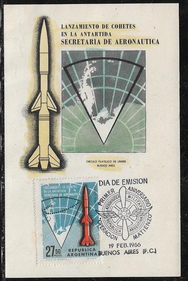 Antártida Arg Lanzamiento De Cohetes Tarjeta 1º Día Año 1966