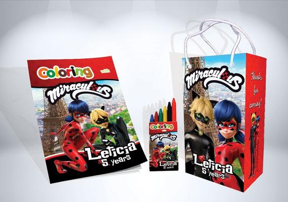 30 Kit De Colorir Ladybug Cat Noir Revista Sacola Lembrança