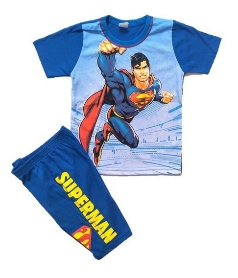 Conjunto Infantil Menino Superman Superhomem Roupa - 1 Ao 7