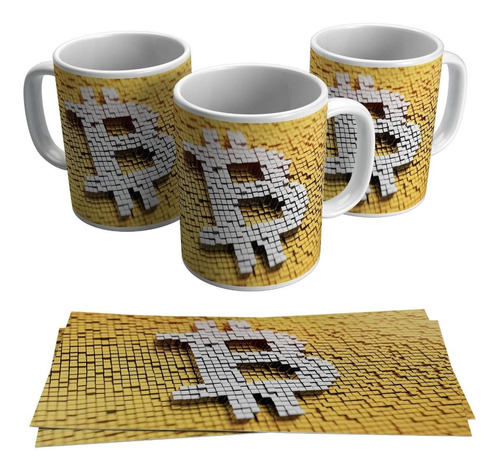 Caneca Moeda Virtual Bitcoin Logo Criptomoeda Símbolo