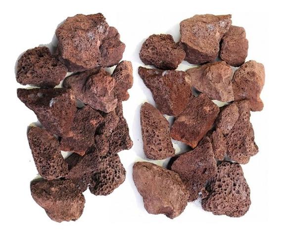 Pedra Vulcânica Marrom Para Lareira Churrasqueira Pacote 4kg