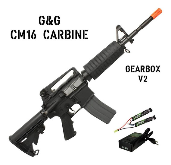 Rifle Fuzil Airsoft Aeg G&g Cm16 Carbine Bivolt V2 380fps