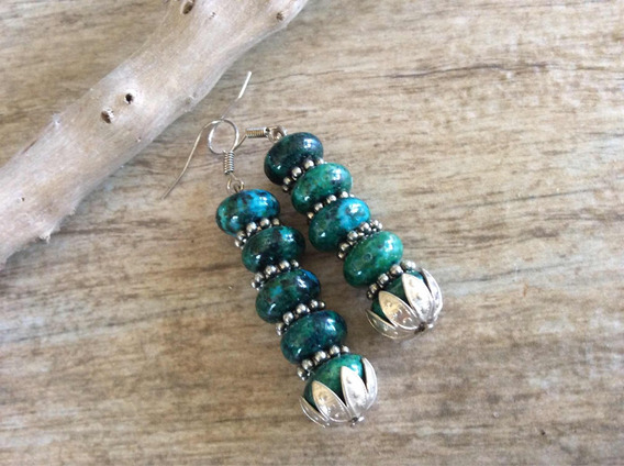 Brincos Verde Oscuro #pedras Naturais #feminino #elegante