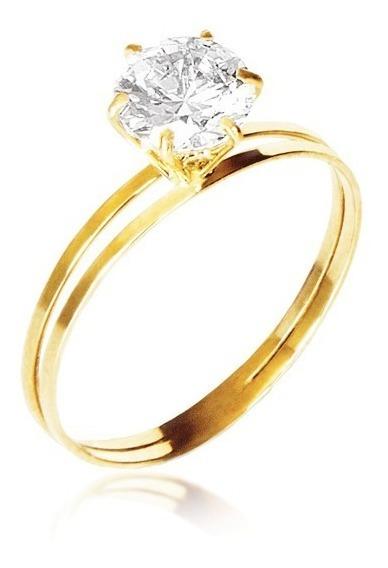 Anel Solitário Ouro 18k Zircônia Debutante Noivado Namorado