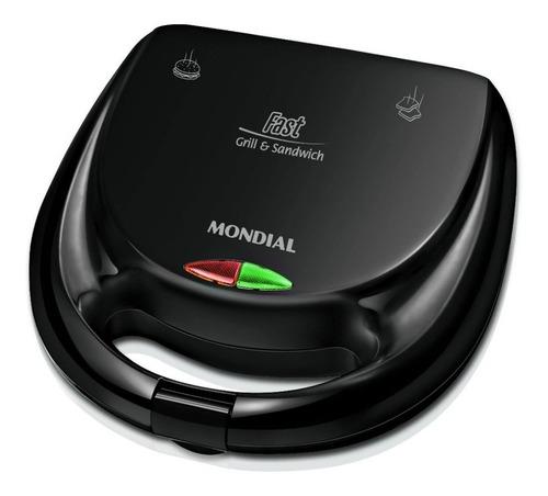 Imagem 1 de 2 de Sanduicheira Fast Grill E Sanswich Preto Mondial S-12