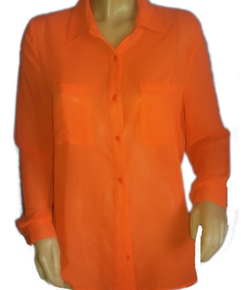 Camisa Lisa, Coral Intenso, Forever21.....talle M