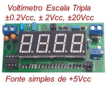 Icl7107 Voltímetro Montado Fonte Simples +5vcc Multi-escala