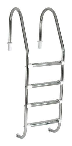 Imagem 1 de 4 de Escada Para Piscina Com 4 Degraus Em Aço Inox Completa Com Chumbador, Proteção De Parede