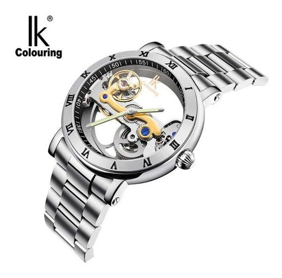 Relógio Masculino Automático Esqueleto 100% Genuíno Ik 5bar