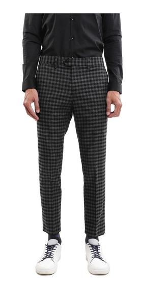 Pantalón Recto Hombre Estampado Cuadros Color Negro Lob