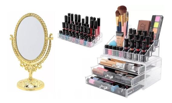 Porta Maquiagem Acrílico Organizador / Batom / Espelho