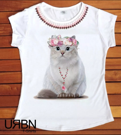 Camiseta Feminina Blusa T-shirt Gata Cat