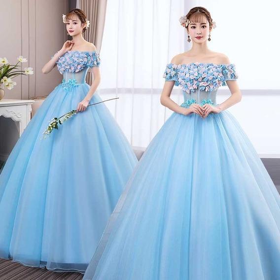 Vestido Quinceañera Flores Hermoso Encaje Quince Años