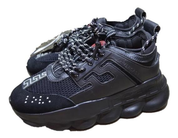 Sneakers Tenis Versace Chain Reaction Black, Envío Gratis
