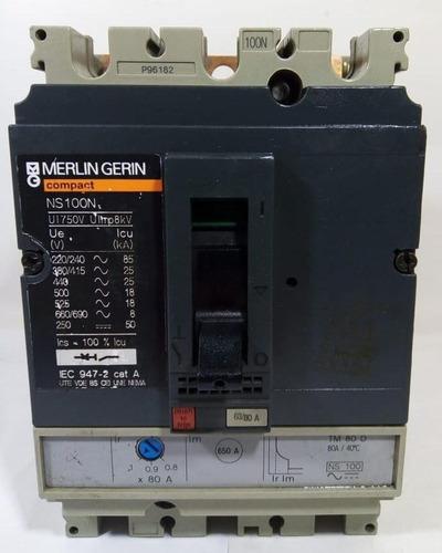 Breaker Totalizador Trifásico Merlin Gerin (schneider) 80 A