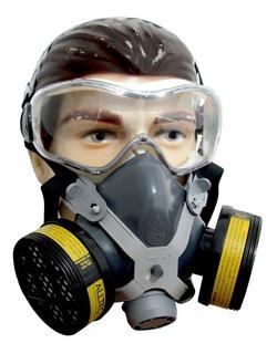 2 Mascara Respirador 4 Filtros Gases Formol Veneno Pintura