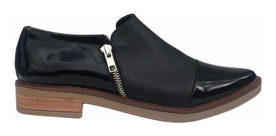Zapato Cuero Mujer Base Goma Abertura Cierres Bte