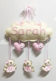 Enfeite Porta Maternidade Feltro Ursinha E Coração Rosa Bebê