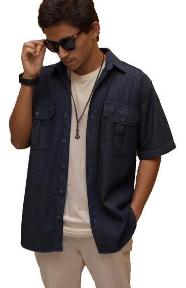 Camisa Jeans Manga Curta Masculina